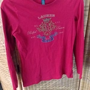 Ralph Lauren logo red  long sleeveTshirt size S